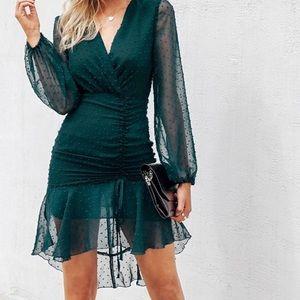 Simplee Ruched Detail Dip Hem Swiss Dot Dress